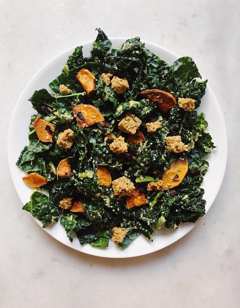 The Ultimate Kale Salad feat. Crispy Shallots, Roasted Sweet Potatoes, and a Homemade Spicy Mustard Tahini Vinaigrette (Vegan, Gluten-Free)