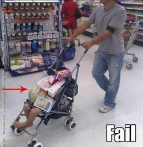 Fail, stroller, kids, parenting, fathers, dads, shopping