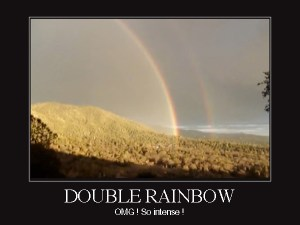 double rainbow, meme, viral, toddlers, parenting, dads, fatherhood, voodoo, Target, superstition, superstitious, gullible, pregnancy brain, life, lifestyle, family