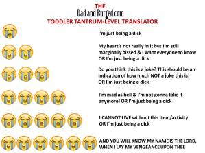 parenting, attention, humor, funny, dad bloggers, tantrum, terrible twos, toddlers, dads, motherhood, fatherhood, family, home, children, kids, stress, tantrum translator