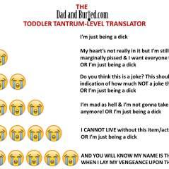parenting, attention, humor, funny, dad bloggers, tantrum, terrible twos, toddlers, dads, motherhood, fatherhood, family, home, children, kids, stress, tantrum translator