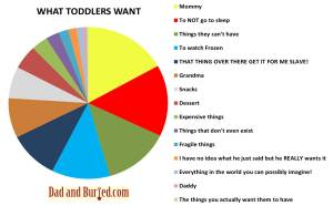 parenting, parenthood, wordless wednesdays, dad blogger, funny, Christmas, humor, pie chart, toddlers, stress, terrible twos, what toddlers want, want it all