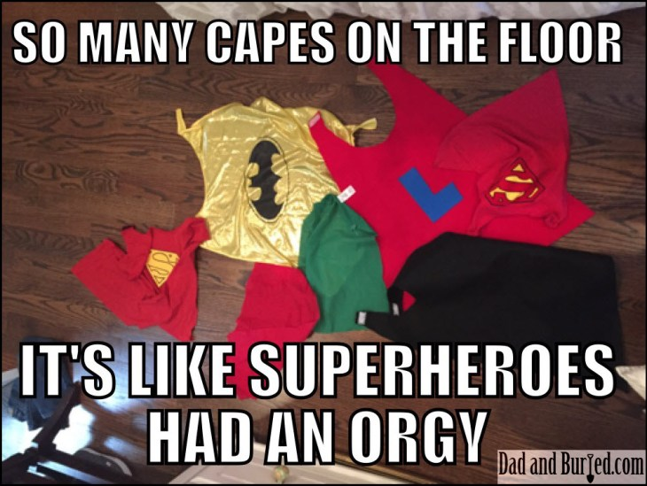 superheroes, dad bloggers, dad and buried, superman, capes, toddlers, kids, children, pop culture, comic books, avengers, superman, batman, movies, TV, humor, funny, memes, wordless wednesday, family, moms, motherhood, home, lifestyle