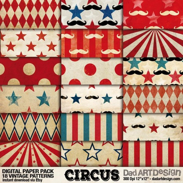 Circus Carnival vintage patterns digital paper pack 01