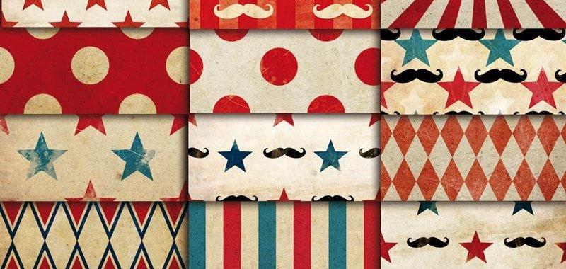 Circus Carnival vintage patterns digital paper pack 01