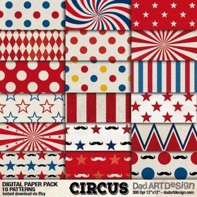 Vintage Circus Patterns digital paper pack 02