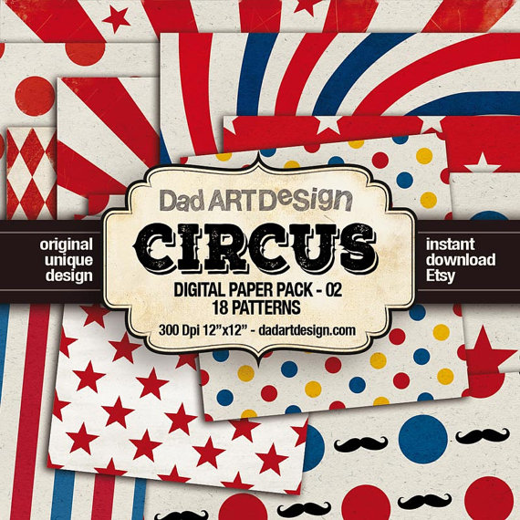 Vintage Circus! digital paper pack 02