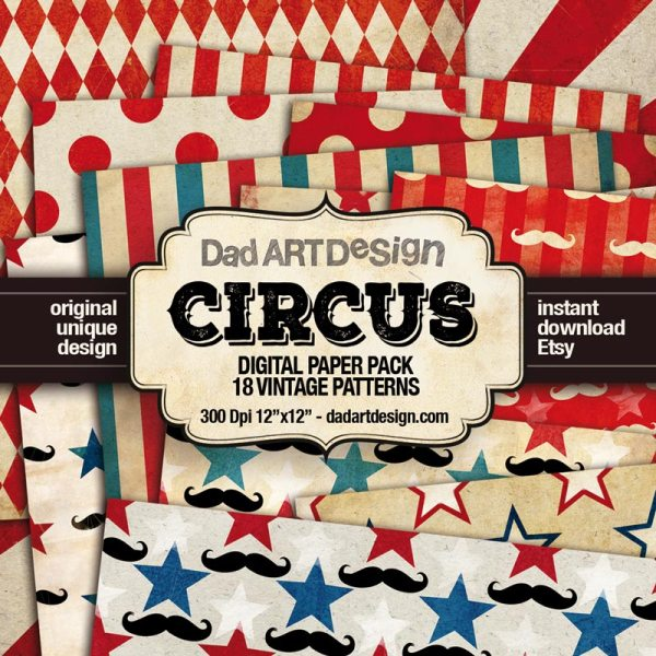Vintage Circus Patterns Digital Paper Pack
