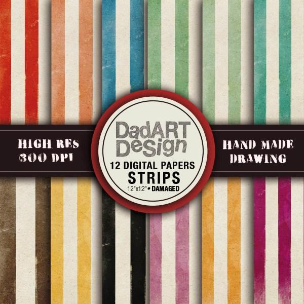Vintage strips patterns - digital paper pack