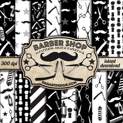 Barber Shop Vintage Pattern digital paper pack