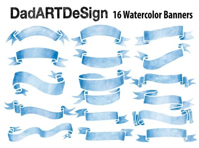 Blue Watercolor Ribbon Banner