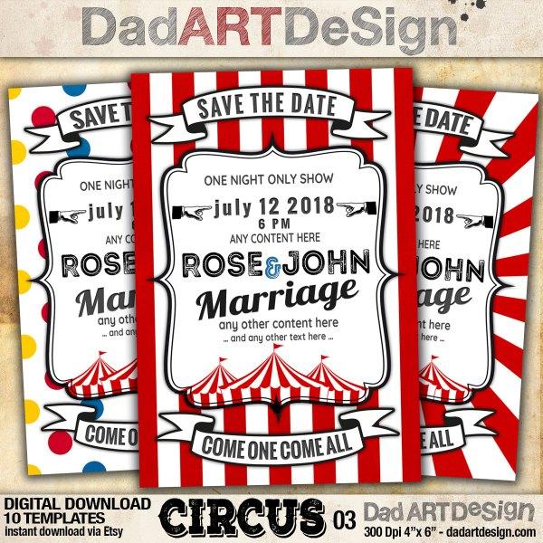 Circus Card Templates