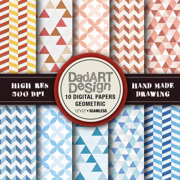 10 Geometric Patterns Digital Paper pack