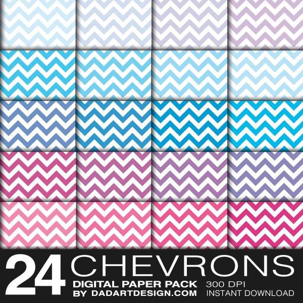 24 Chevron Patterns Digital Paper Pack