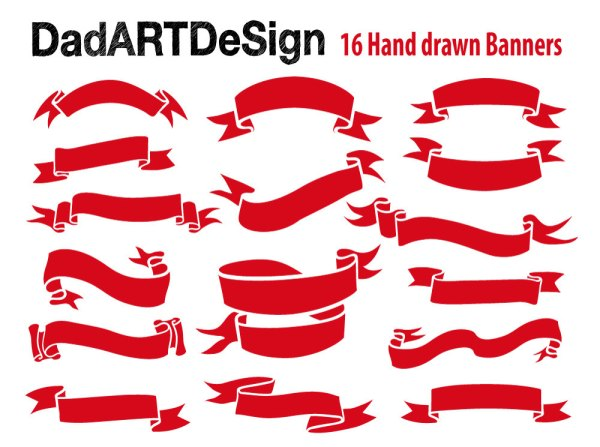 red vector ribbon banners