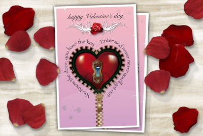 Pink Steampunk Valentine's day card