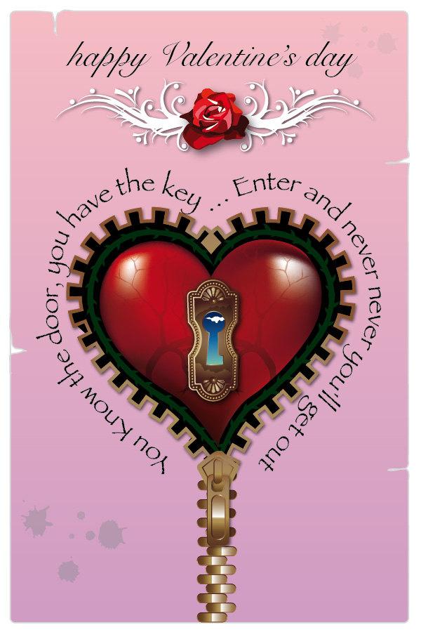 Pink Steampunk Valentine's day card