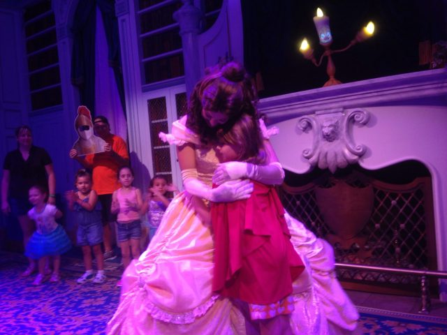 M hugged by Belle