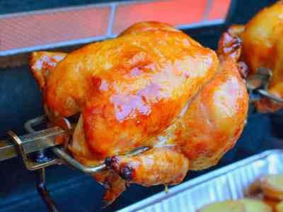 Rotisserie Chicken with Knob Creek Maple Glaze and Drip Pan Potatoes