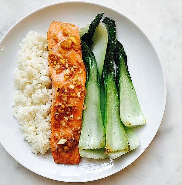 Asian Salmon with White Rice & Bok Choy