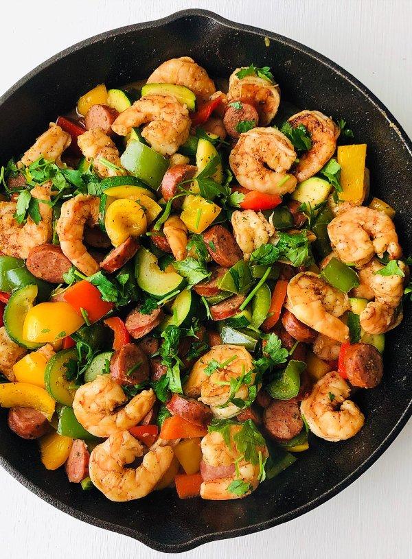 Shrimp & Sausage Veggie Skillet