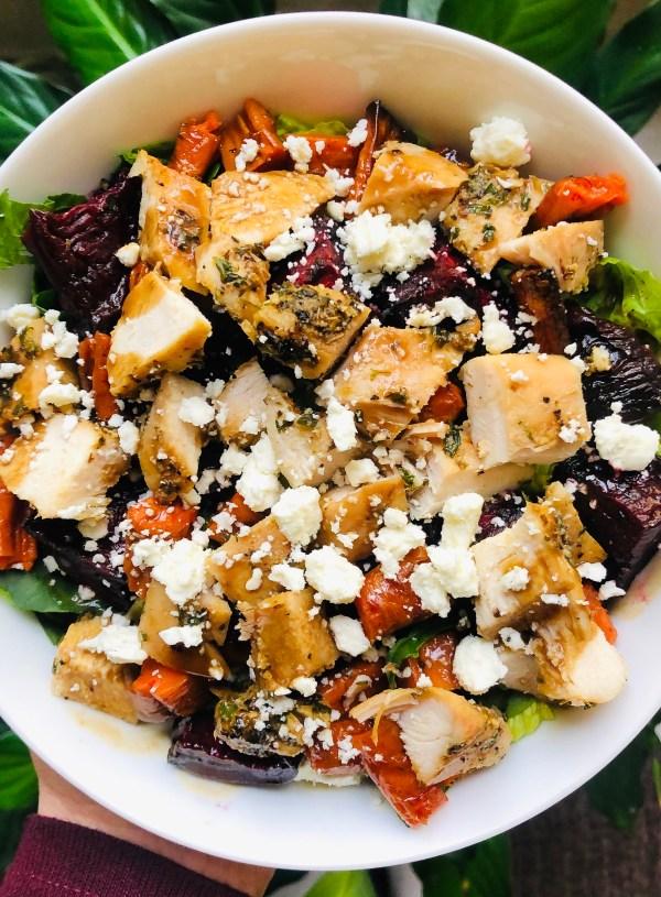 Fall Harvest Salad with Homemade Balsamic Vinaigrette