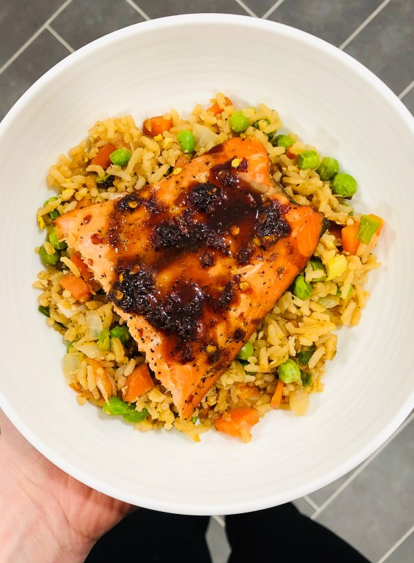 Vegetarian Fried Rice & Asian Salmon
