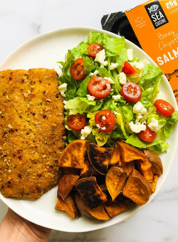 Honey Chipotle Salmon w/ Salad & Sweet Potatoes (& Life with 2 Update)