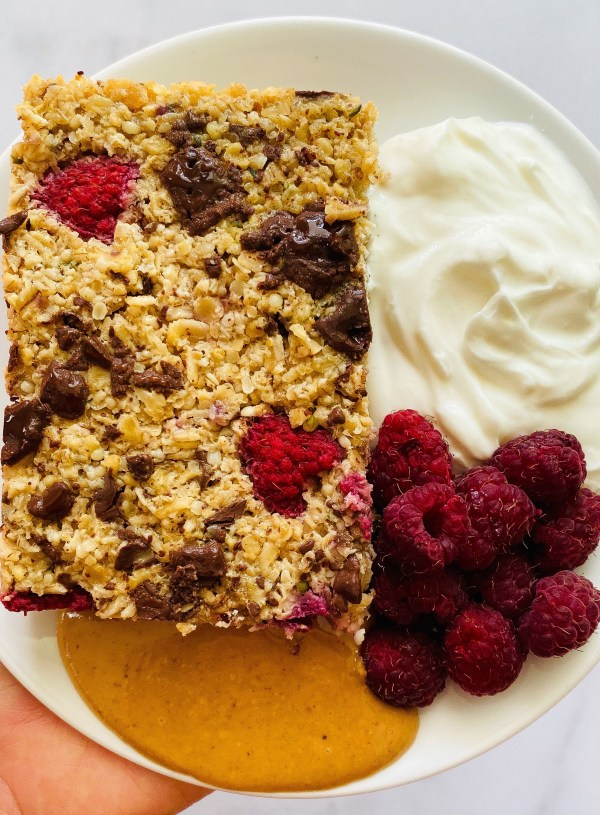 Dark Chocolate Raspberry Baked Oatmeal