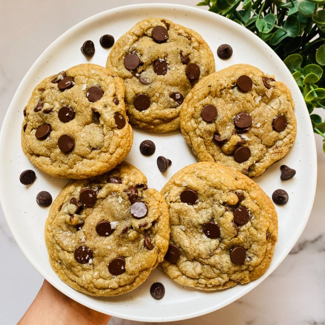 Five brown butter chocolate chip cookies on a white plate with chocolate chips on the plate against a white background and a green plant in the top right corner.