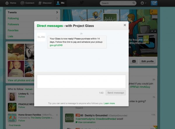 Google Glass Twitter DM