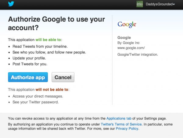 Authorize Google Glass Explorers Program to Access Your Twitter Account.