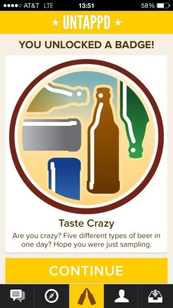 Untappd - Taste Crazy Badge