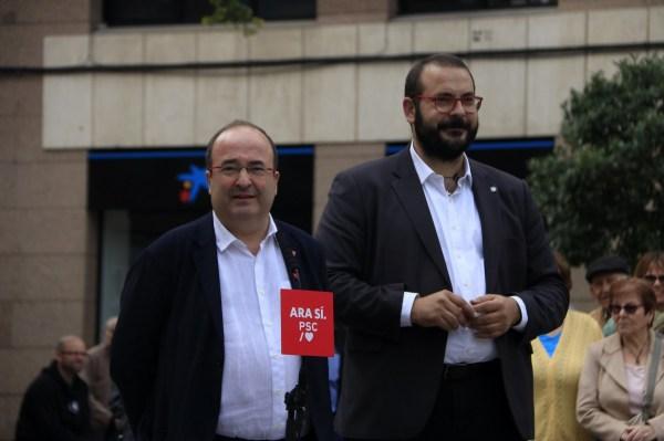 L'alcalde de Mataró, David Bote, al costat del secretari general del PSC, Miquel Iceta | ACN