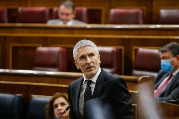 El ministre de l'Interior, Fernando Grande-Marlaska, durant una sessió de control al Congrés | ACN