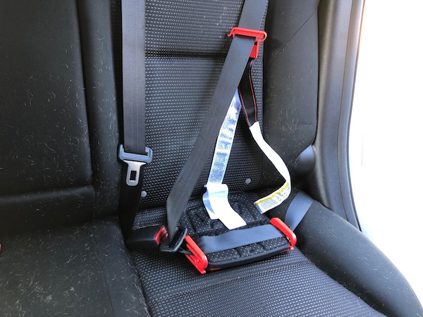 The Mifold booster seat in use