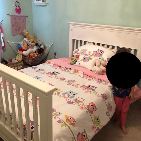 Her new big kid bed
