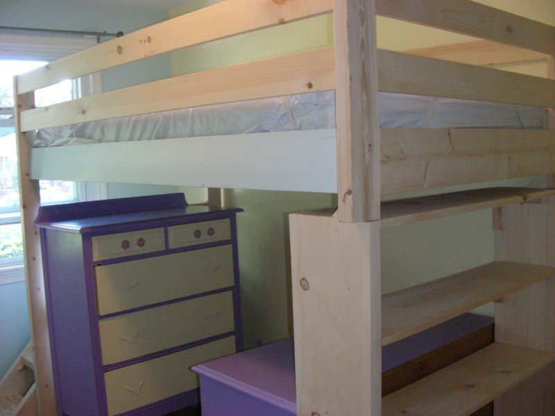 Image of a completed loft bed with dresser and desk underneath