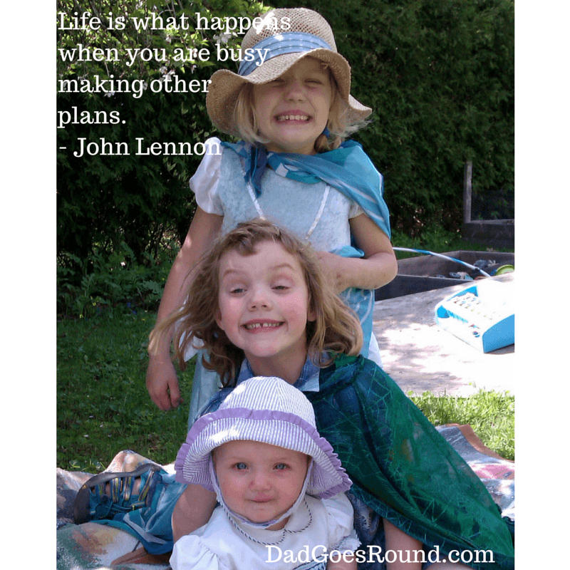 """Image of three girls with John Lennon quotation """"Life is what happens when you are busy making other plans."""""""