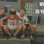 "Image of three boys sitting on a front porch with text ""My Big Lie: 35 Months Later"""