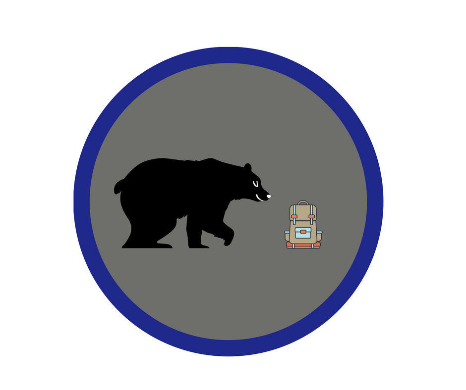 Image of a bear on a badge approaching a backpack