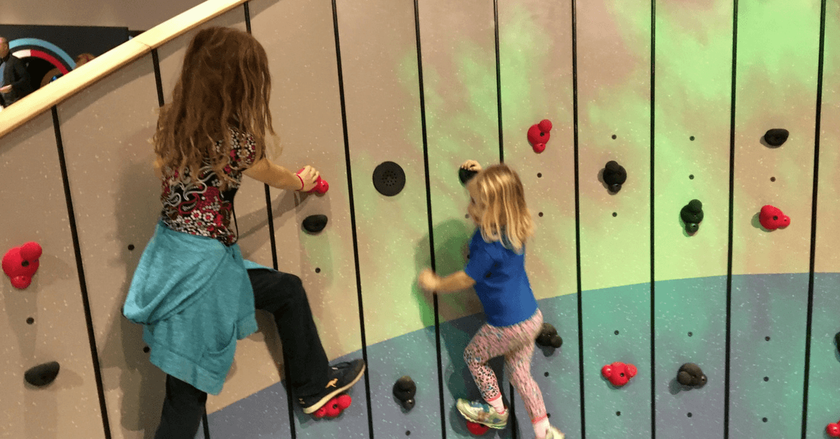 Image of a climbing wall at ZOOOM Children's Innovation Centre