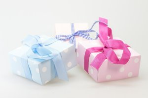 Gifts, wrapped with bows