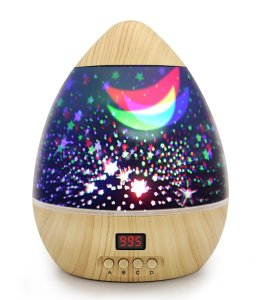 Star Projector Night Light, wood exterior, digital timer