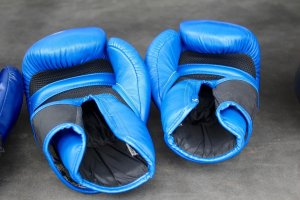 2 boxing gloves, blue