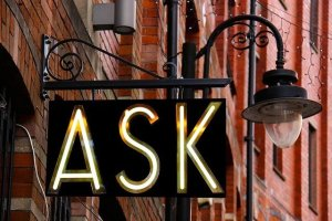 Ask sign, lamp