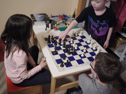 They're usually playing chess already by the time I get up in the morning. This is a pretty typical scene.