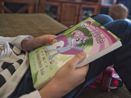 H reads all kinds of things, and many more advanced novels, but the My Little Pony books still have a special place in her heart. She never wants to pass up a new one