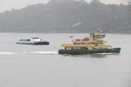 ferries in the rain