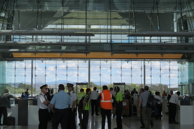security, Canberra Airport, Brindabella Mountains behind